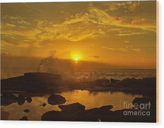 Sunset Over Oahu Hawaii  Wood Print