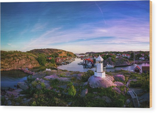 Sunset Over Old Fishing Port - Aerial Photography Wood Print
