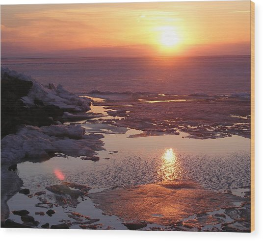 Sunset Over Oneida Lake - Horizontal Wood Print