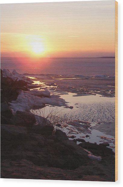 Sunset Over Oneida Lake - Vertical Wood Print