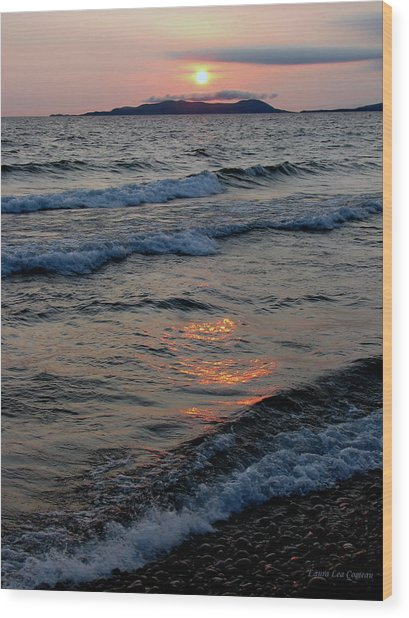 Sunset Over Pic Island Wood Print by Laura Wergin Comeau