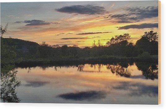 Sunset Over Pond Wood Print