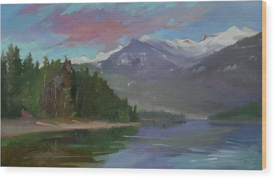 Sunset Over Priest Lake, Id Wood Print