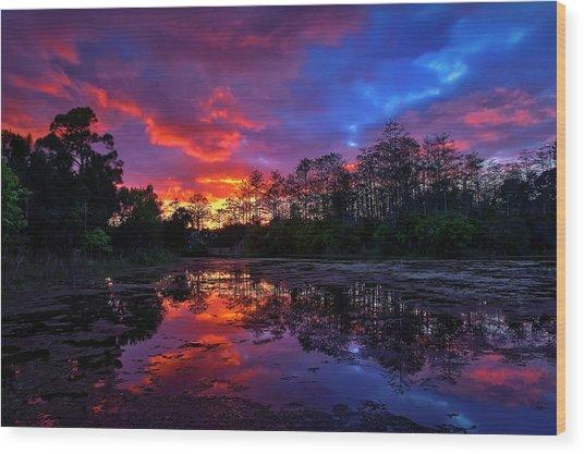 Sunset Over Riverbend Park In Jupiter Florida Wood Print