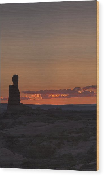 Sunset Over Rock Formation Wood Print