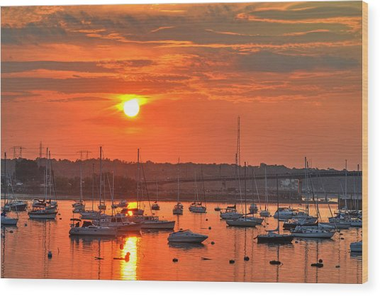 Sunset Over Salem Harbor Salem Beverly Bridge 2 Wood Print