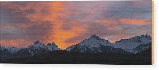 Sunset Over Tantalus Range Panorama Wood Print