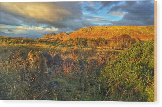 Sunset Over The Campsie Fells Wood Print