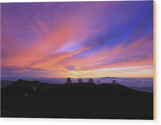 Sunset Over The Clouds Wood Print
