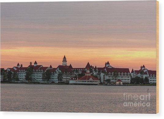 Sunset Over The Grand Floridian Wood Print