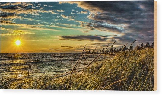 Sunset Over The Great Lake Wood Print