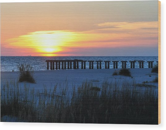 Sunset Over The Gulf Of Mexico Wood Print by Steven Scott