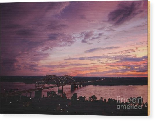 Wood Print featuring the photograph Sunset Over The I40 Bridge In Memphis Tennessee  by T Lowry Wilson