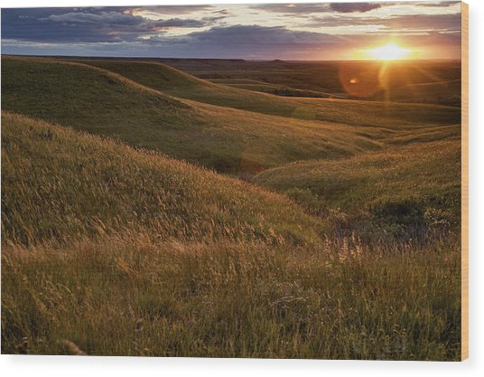 Sunset Over The Kansas Prairie Wood Print