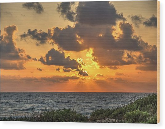 Sunset Over The Mediterranean  Wood Print