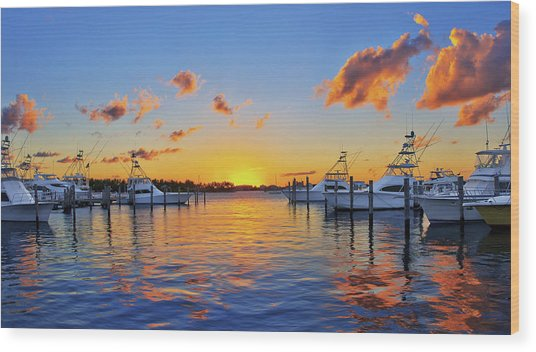 Sunset Over The Sailfish Marina In Riviera Beach Florida Wood Print
