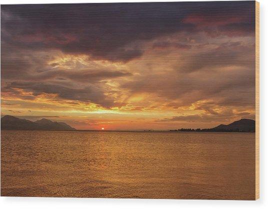 Sunset Over The Sea, Opuzen, Croatia Wood Print