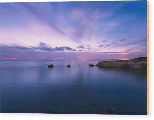 Sunset Over The Sicilian Sea Wood Print