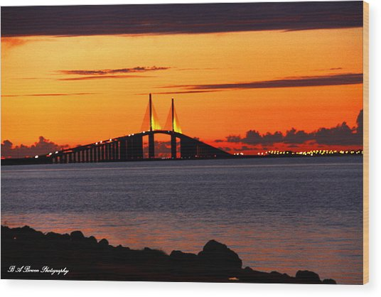 Sunset Over The Skyway Bridge Wood Print