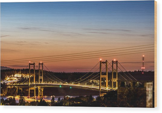 Sunset Over The Tacoma Narrows Bridges Wood Print