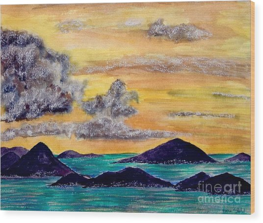 Sunset Over The Virgin Islands Wood Print