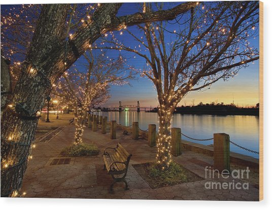 Sunset Over The Wilmington Waterfront In North Carolina, Usa Wood Print