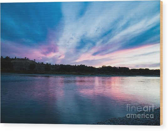 Sunset Over The Yellowstone Wood Print