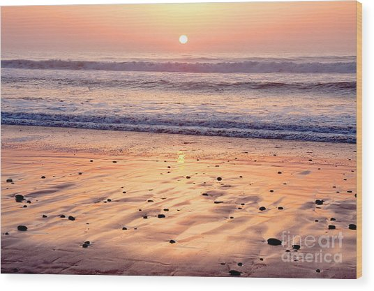Sunset Over Torrey Pines Beach La Jolla California Wood Print by Julia Hiebaum