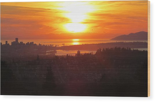 Sunset Over Vancouver Wood Print