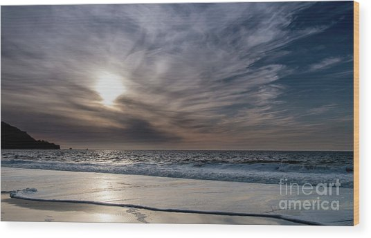 Sunset Over West Coast Beach With Silk Clouds In The Sky Wood Print