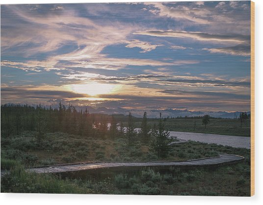 Sunset Over West Yellowstone Wood Print