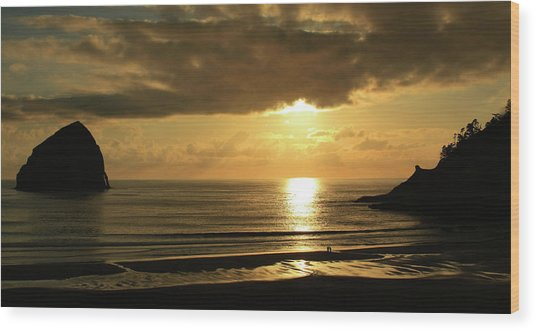 Sunset Panorama Haystack Rock Wood Print