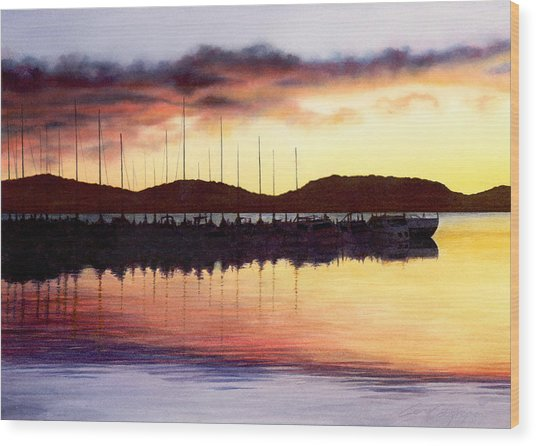 Sunset Panorama Left Side Wood Print
