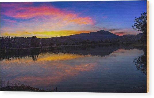 Sunset Panorama Of Mt. Tam And Richardson Bay Wood Print