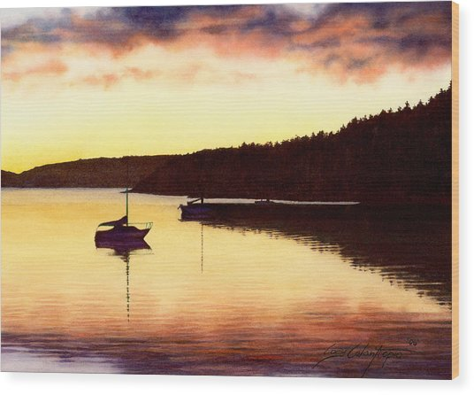 Sunset Panorama Right Side Wood Print
