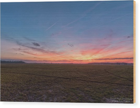 Sunset Pastures Wood Print