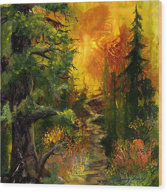 Sunset Path Wood Print