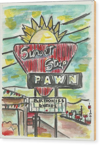 Sunset Pawn Wood Print by Matt Gaudian