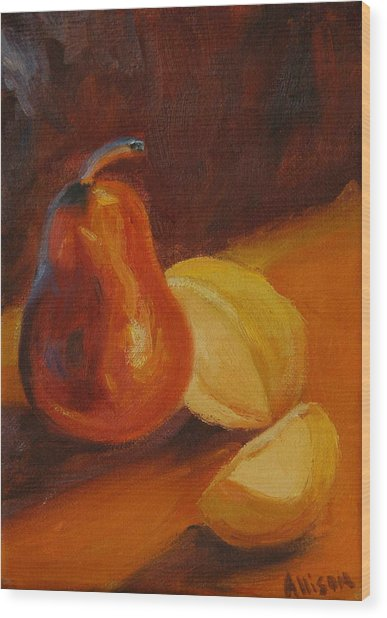 Sunset Pears Wood Print by Stephanie Allison