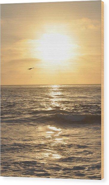 Sunset Pelican Silhouette Wood Print
