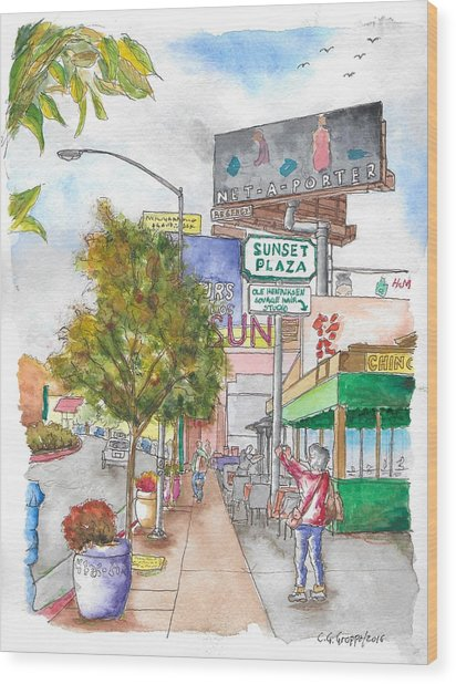 Sunset Plaza, Sunset Blvd., And Londonderry, West Hollywood, California Wood Print
