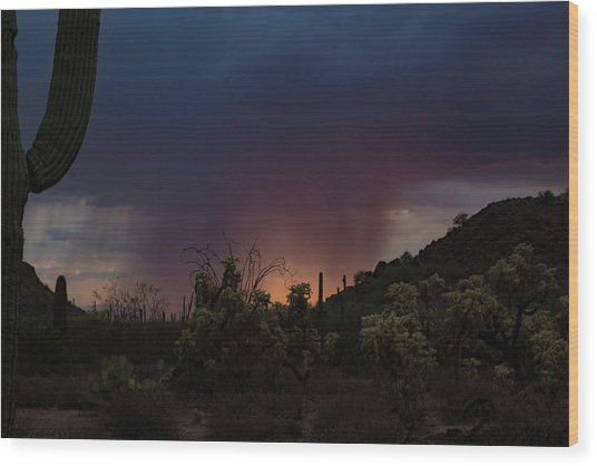 Sunset Rainfall Wood Print
