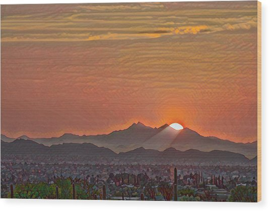 Wood Print featuring the photograph Sunset Rays Remix by Dan McManus