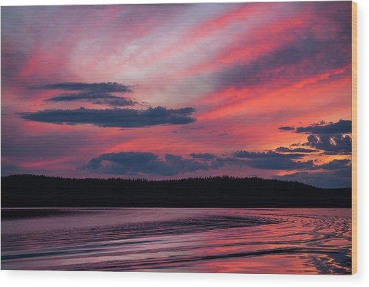 Sunset Red Lake Wood Print