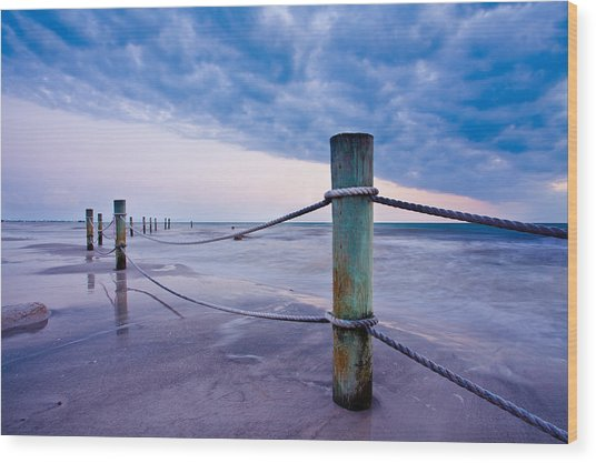 Sunset Reef Pilings Wood Print