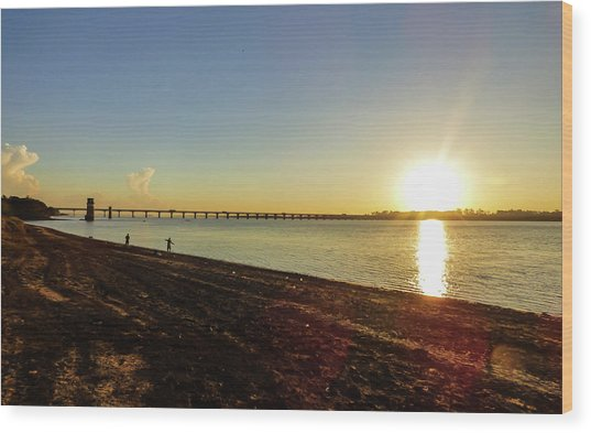 Sunset Reflecting On The Uruguay River Wood Print