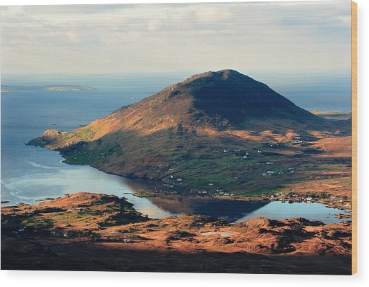 Sunset Reflection In Connemara Ireland Wood Print by Pierre Leclerc Photography