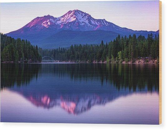 Sunset Reflection On Lake Siskiyou Of Mount Shasta Wood Print