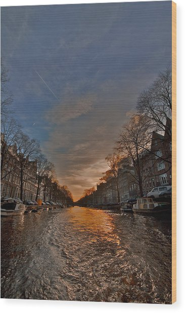 Sunset Ripples Wood Print