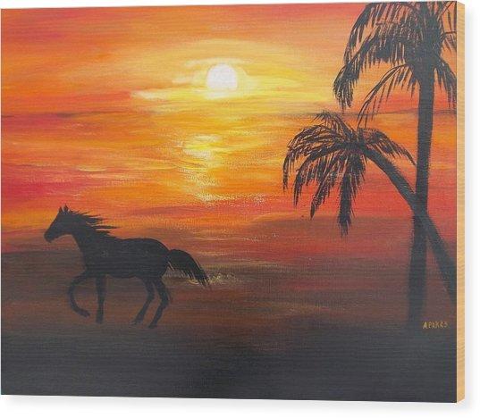 Sunset Run Wood Print